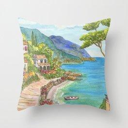 Seaside Village Throw Pillow