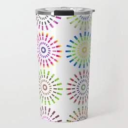 Numerous circles forming an abstract pattern on white background Travel Mug