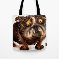 bulldog Tote Bags featuring Bulldog by Riccardo Pertici