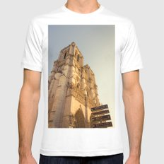 Paris Cathedral Notre Dame  Mens Fitted Tee White MEDIUM