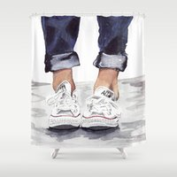 converse Shower Curtains featuring Converse by Bridget Davidson