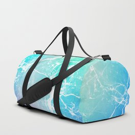 Modern turquoise purple watercolor abstract marble Duffle Bag