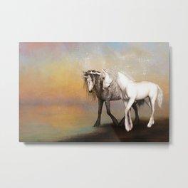 Unicorn love in the rainbow world Metal Print