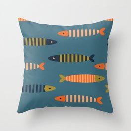 Striped fish - blue Throw Pillow