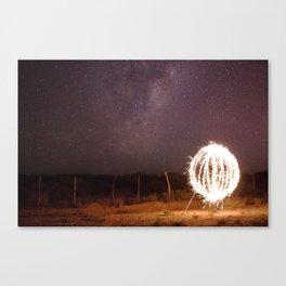 Lightpainting under the stars Canvas Print