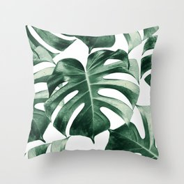 Tropical Monstera Leaves Dream #2 #tropical #decor #art #society6 Throw Pillow