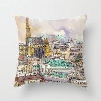 vienna Throw Pillows featuring Vienna by Eurekawanders