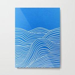 French Blue Ocean Waves Metal Print