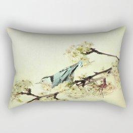 Nuthatch Bird Spring Flower Farmhouse Art Country Home Decor  A131 Rectangular Pillow