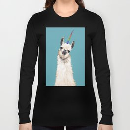 Unicorn Llama Blue Long Sleeve T-shirt