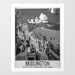 retro b/w Bridlington travel poster Art Print