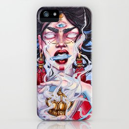 HOLY SMOKES watercolor artwork psychedelic art iPhone Case