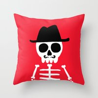 skeletor Throw Pillows featuring El Skeletor by David Allart