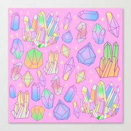 Pastel Goth Crystal Cluster Pattern Pink & Blue Canvas Print