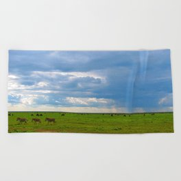 Zebra crossing Ndutu Beach Towel