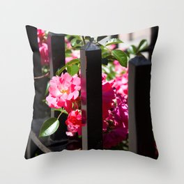 Flowers and Wrought Iron Throw Pillow