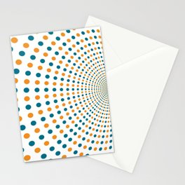 BLUE AND ORANGE DOTS Abstract Art Stationery Cards