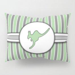 Kangaroo on Green Stripes Pattern Design Pillow Sham