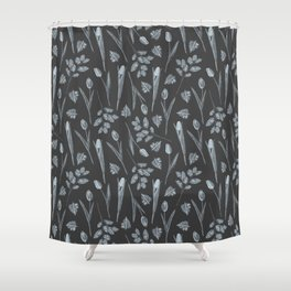 Modern botanical black gray watercolor floral Shower Curtain