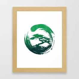 Green Bonsai in Enso Framed Art Print