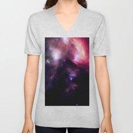 Galaxy : Pleiades Star Cluster nebUlA Purple Pink Unisex V-Neck