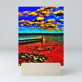 Colorful Sunset on Beachfront Mini Art Print