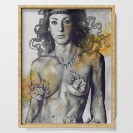 Colony Collapse Disorder: Gold (nude warrior woman with autumn leaves) Serving Tray