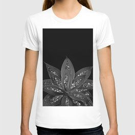 Gray Black Agave with Black Silver Glitter #2 #shiny #tropical #decor #art #society6 T-shirt