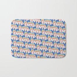 ENTP Trendy Rainbow Text Pattern (Blue) Bath Mat