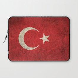 Old and Worn Distressed Vintage Flag of Turkey Laptop Sleeve