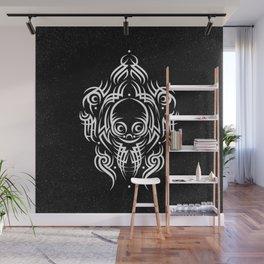 Alien Tribal Tattoo - white Wall Mural