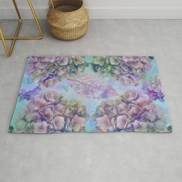 Watercolor hydrangeas and leaves Rug