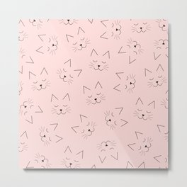 Cute Girly Black Kitty Cat Face Pink Pattern Metal Print