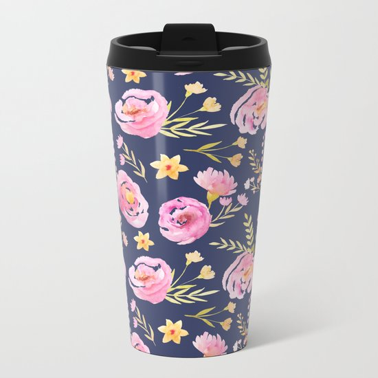 Delicate Poppy Pattern Blue Metal Travel Mug