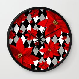 Poinsettias and HARLEQUIN Wall Clock