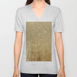 Girly Glamorous Gold Foil and Glitter Mesh Unisex V-Neck