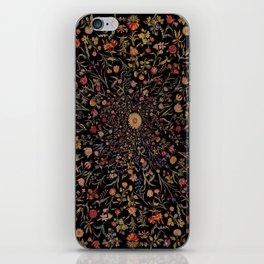 Medieval Flowers on Black iPhone Skin