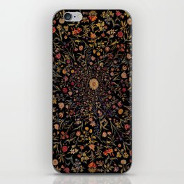 Medieval Flowers on Black iPhone Skin