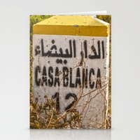 casablanca Stationery Cards featuring Casablanca milestone with old Volkswagen microbus by Premium
