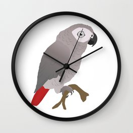 Cute African grey parrot vector Wall Clock