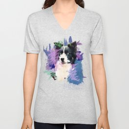 Border Collie T-Splash Art Dog Owner Gift Unisex V-Neck