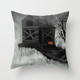 Haunted House and Jolly Pumpkin Throw Pillow