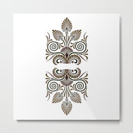 19th-century fine Greek stylish floral pattern for clothing or home decoration Metal Print