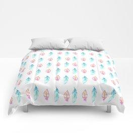 Bohemian pink teal orange watercolor feathers patterns Comforters
