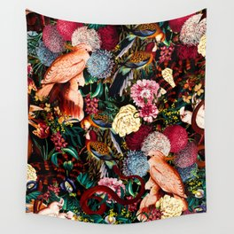 Floral and Animals pattern II Wall Tapestry