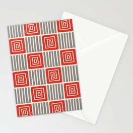 Retro Mid Century Modern Check Pattern 750 Gray and Red Stationery Cards