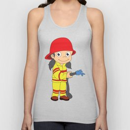 Firefighter Cartoon Lover Gift T-Shirt Unisex Tank Top