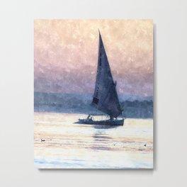 Felucca Water Colour Metal Print