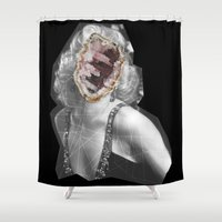 geode Shower Curtains featuring Geode Marilyn by hunnydoll