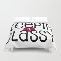 classy Duvet Covers featuring Classy by Bunhugger Design